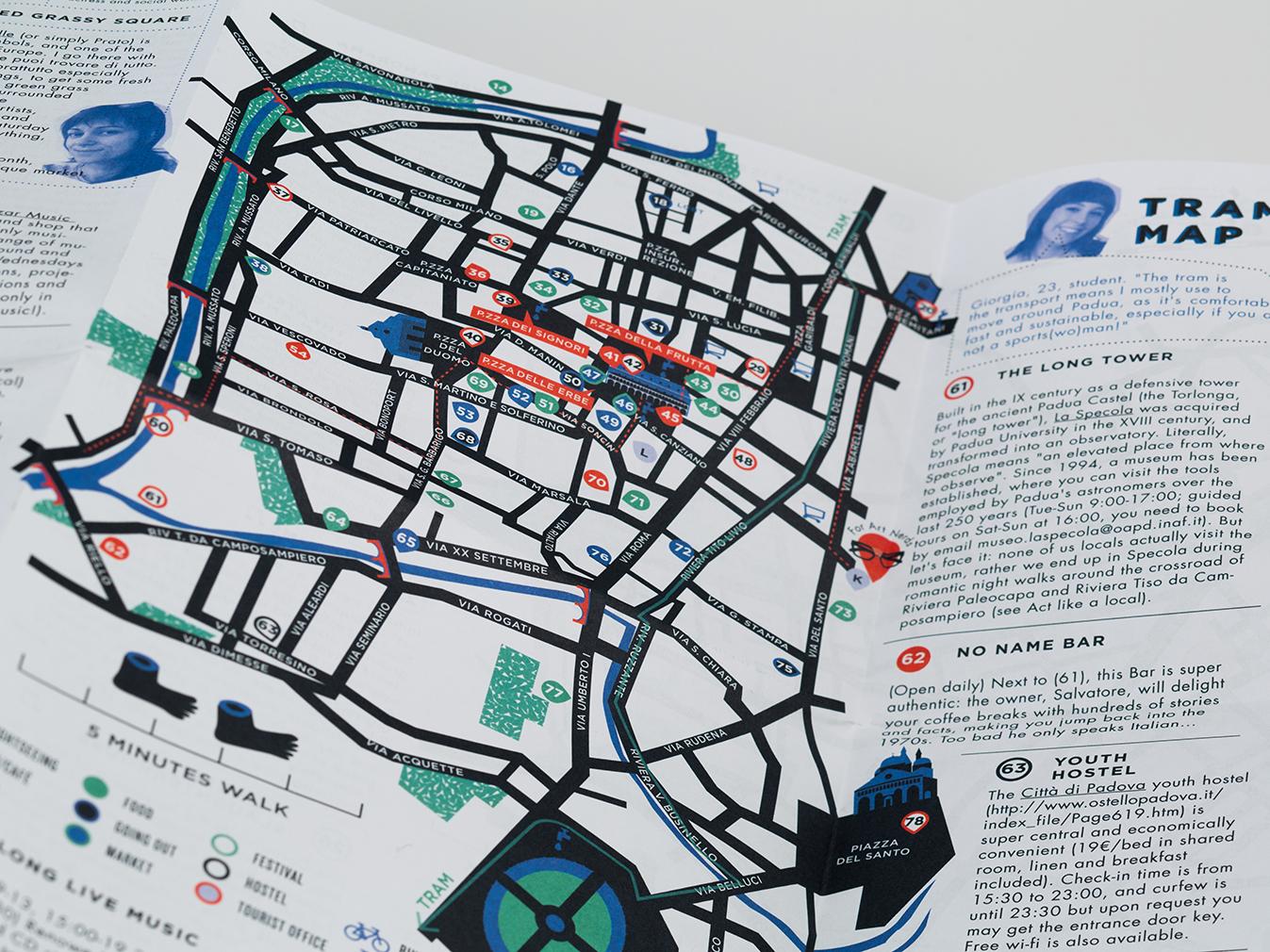 mappa illustrata pieghevole padov