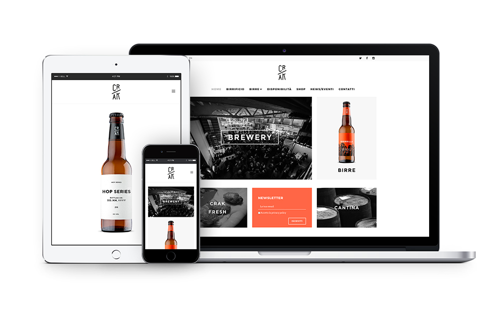 Website design Crak Brewery