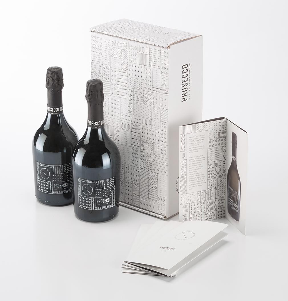 Realizzazione logo e packaging per accessori e bottiglia prosecco Picchetto Verde Treviso