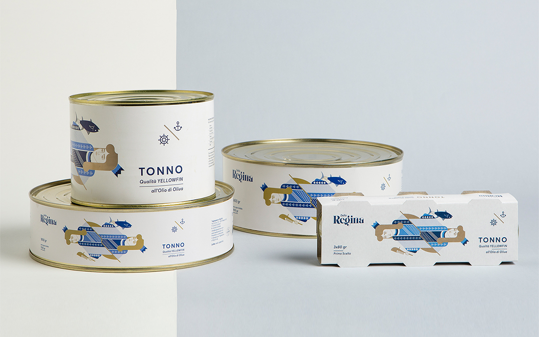 design Packaging tonno e sgombro illustrato