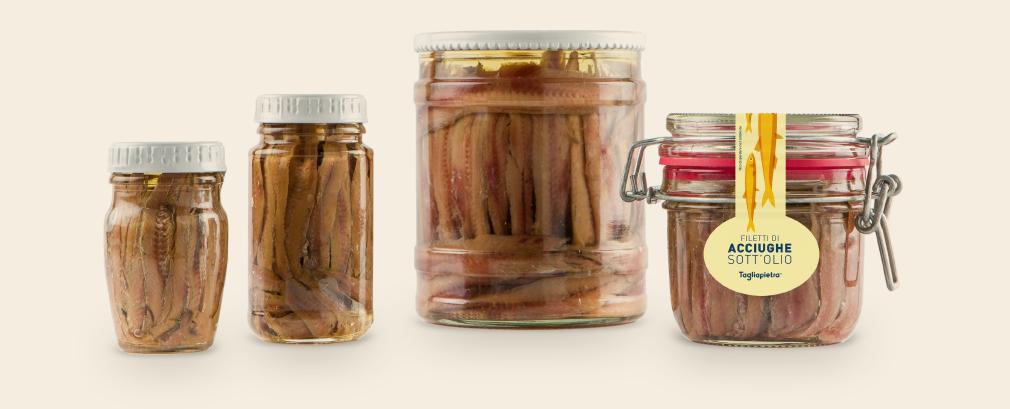 Progettazione etichette per vasi alimentari conserve acciughe tagliapietra