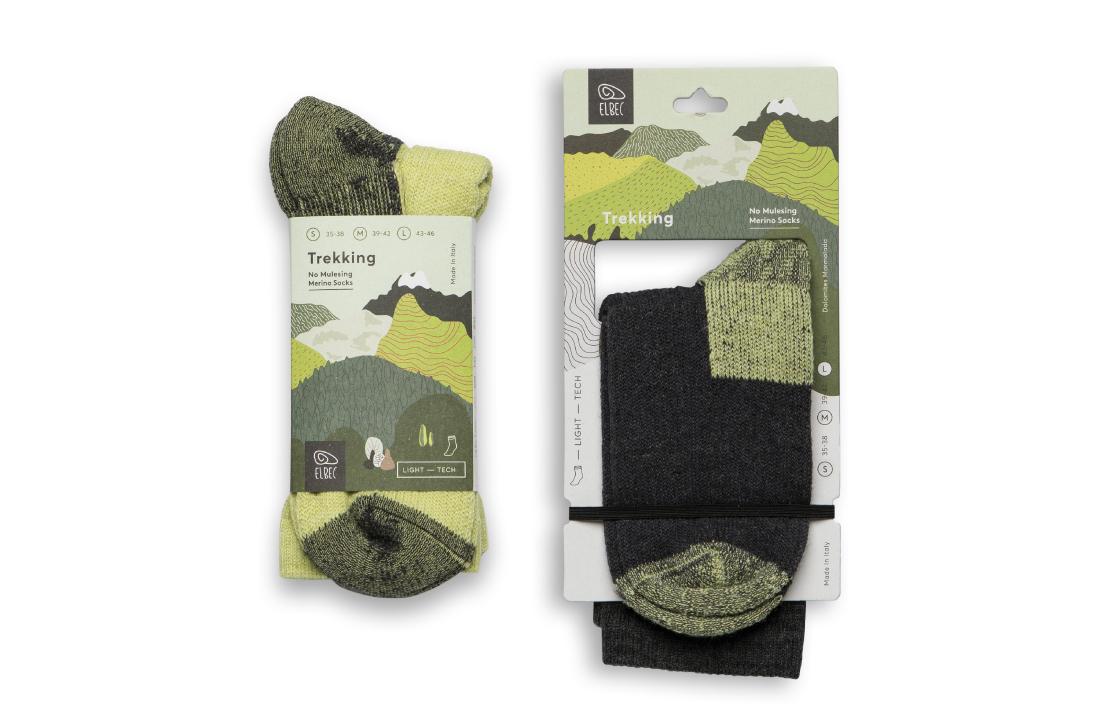 Calzini trekking no muesling packaging illustrato