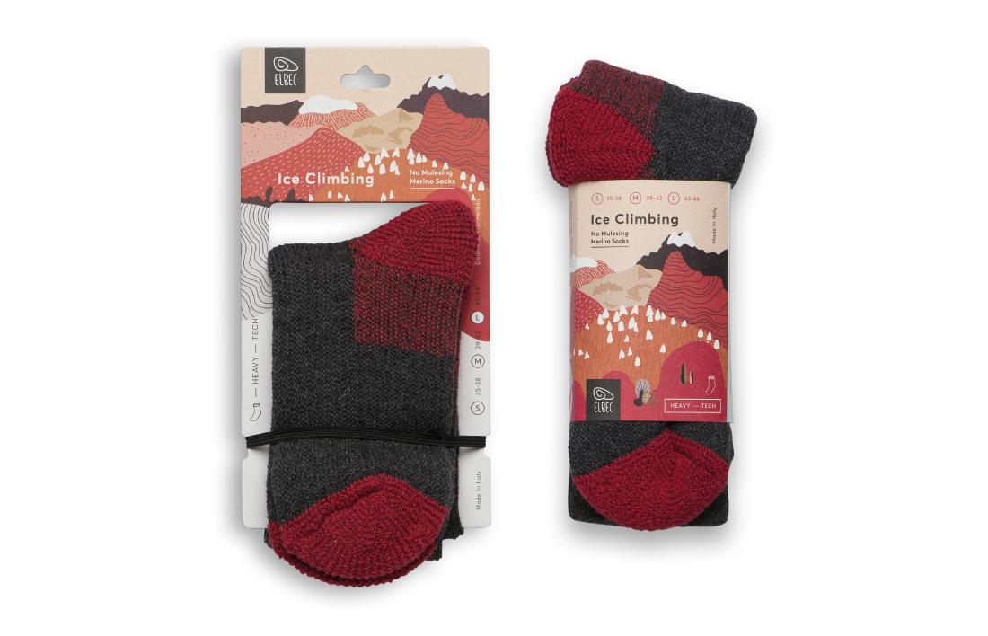 Ice climbing socks packaging design